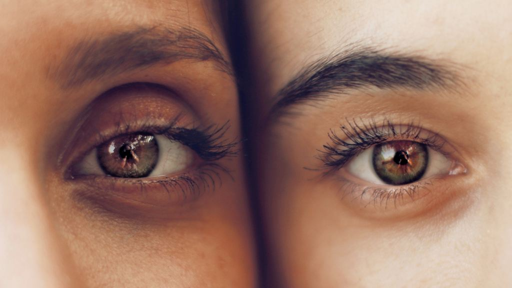 Close up of two people's eyes. Eye exposures