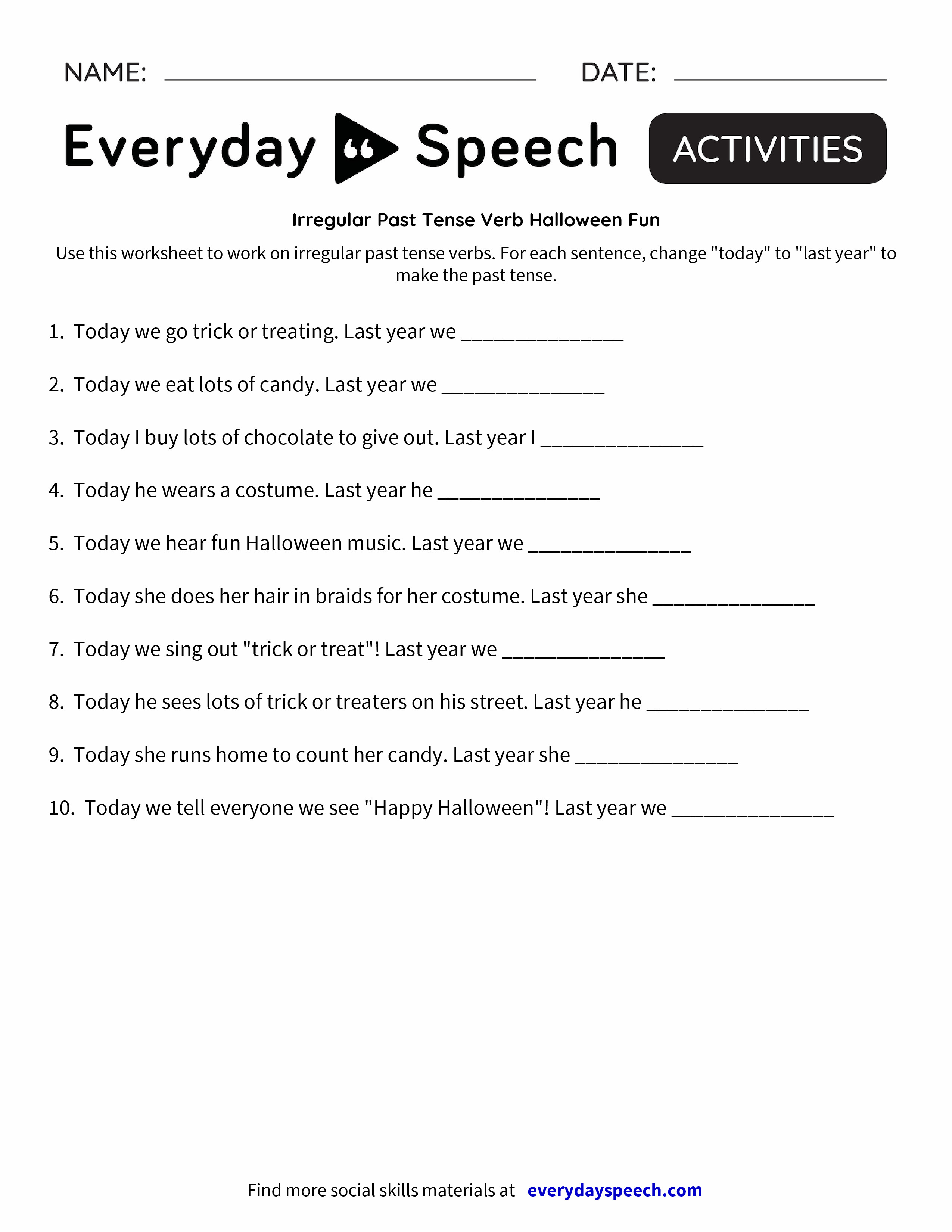 small resolution of Irregular Verb Worksheets Pdf