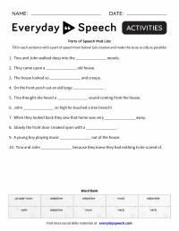 Parts of Speech Mad Libs - Everyday Speech - Everyday Speech