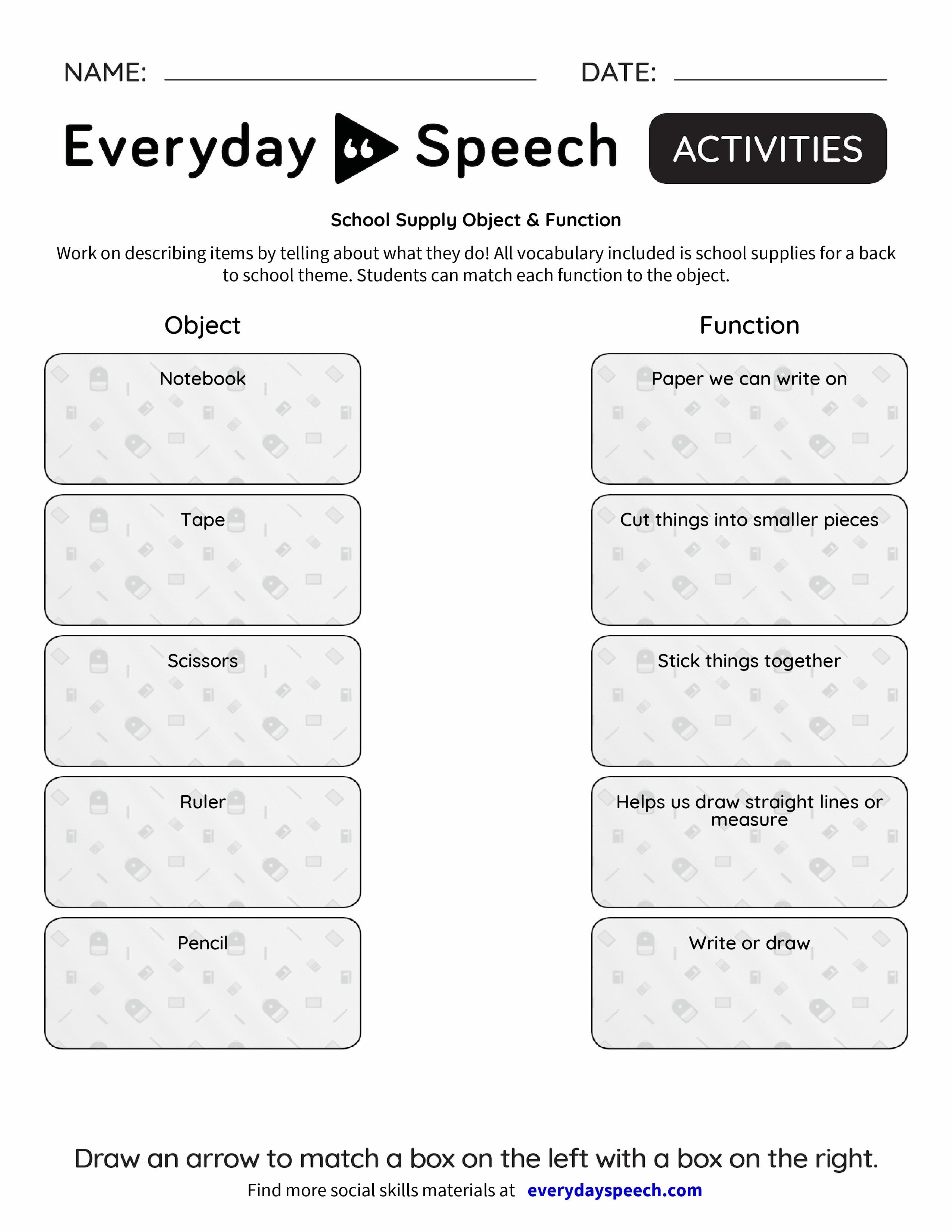 School Supply Object Functi Everyd Y Speech Everyd Y Speech