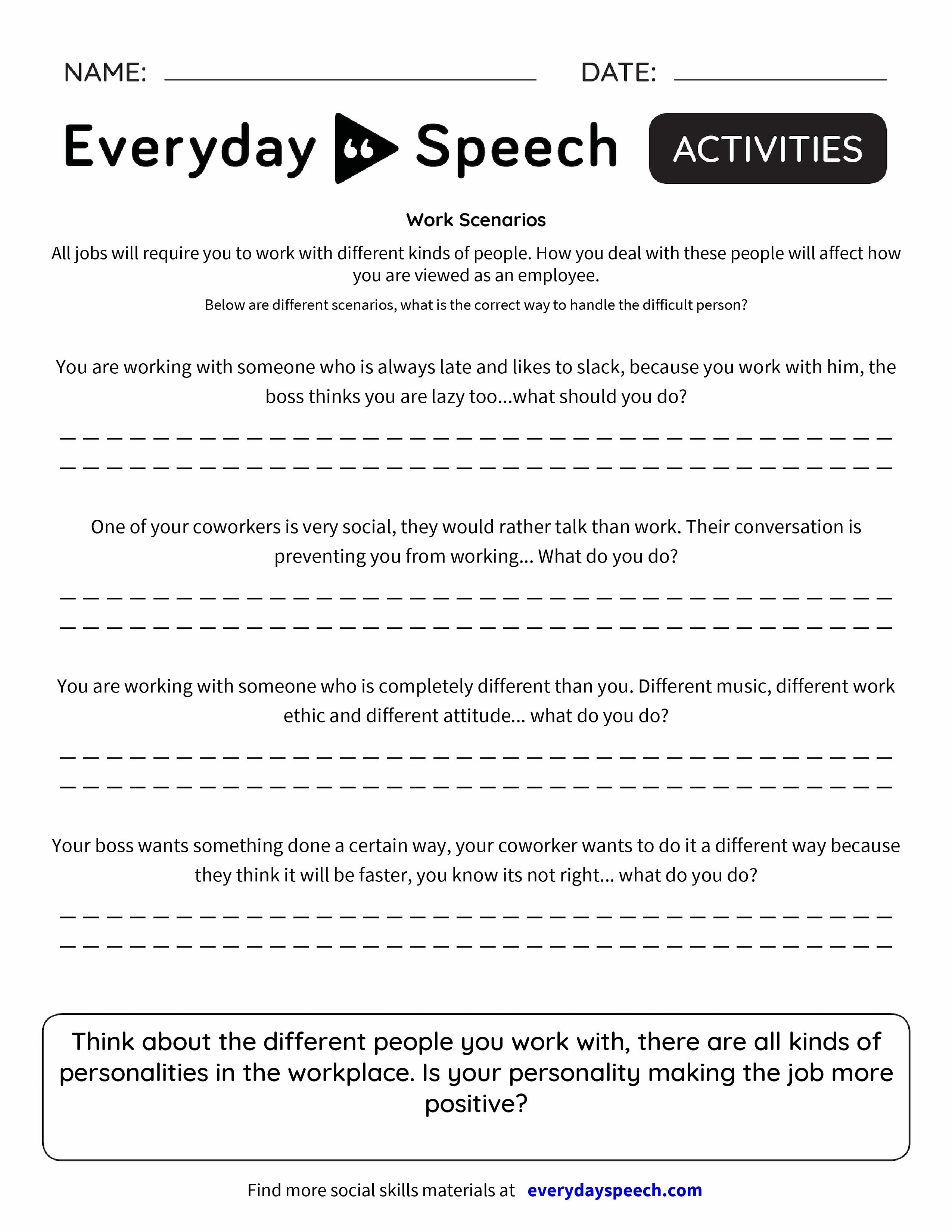 W K Scen Rios Everyd Y Speech Everyd Y Speech