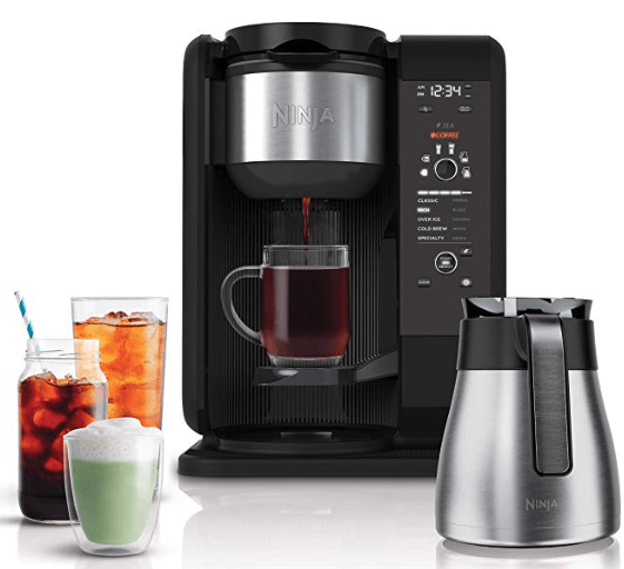 Ninja Hot and Cold Brewed System, Tea and Coffee Maker, Frother, Coffee & Tea Baskets with Thermal Carafe