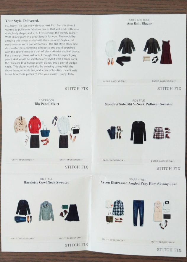 Stitch Fix Styling Tips Card