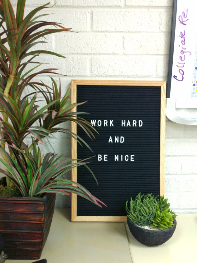 work hard and be nice classroom quote
