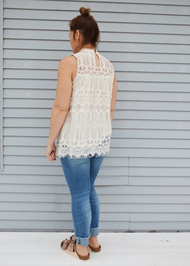 target xhilaration lace mock neck tank back