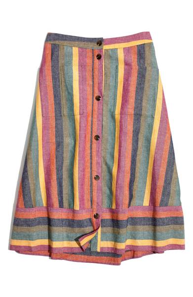 Madewell Rainbow Stripe Midi Skirt