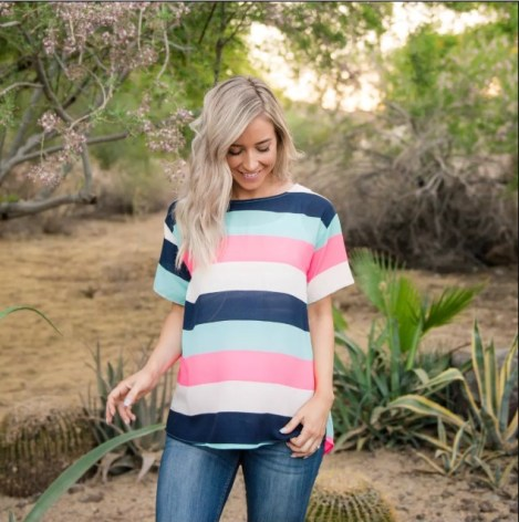 Chiffon Summer Stripe Top