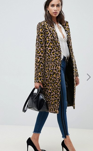asos long leopard coat