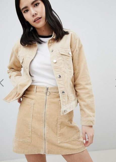 asos tan cord trucker jacket
