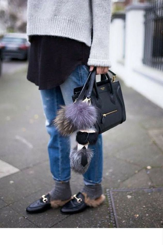 furry mules with socks