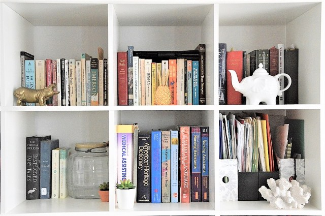 Ikea Expedit Bookshelves with Thrifted Finds, Antiques, and New Items