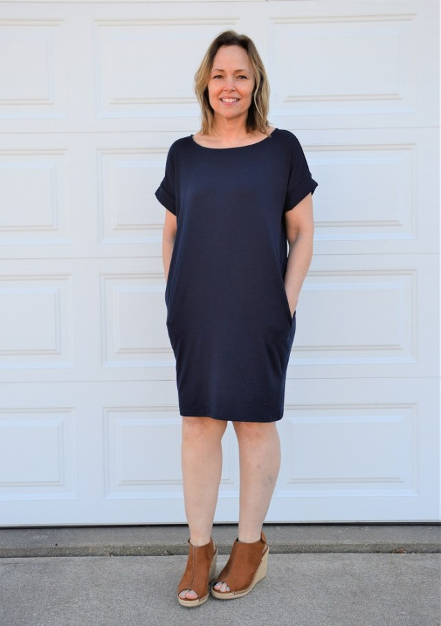 Navy Turquoise & Tangerine Rolled Sleeve Dress