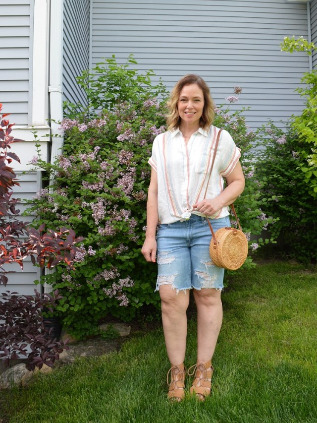 Stitch Fix Striped Top with Distressed Denim Shorts, Sorel Sandals, and Round Woven Rattan Bag