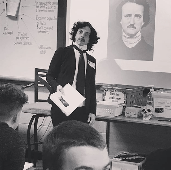 English Teacher Tabitha dressed as Edgar Allan Poe, Teacher Appreciation