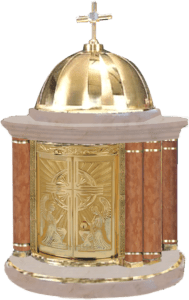 A Catholic tabernacle containing the Eucharist