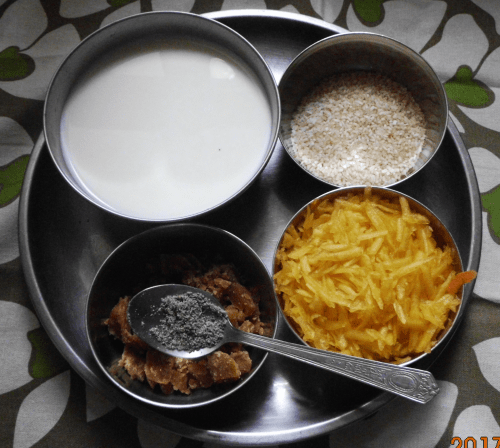 Ingredients for Pumpkin Kheer