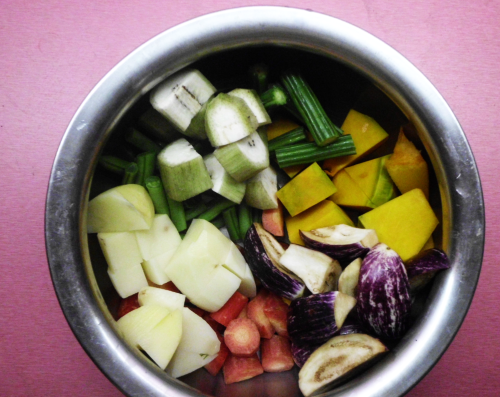 7 vegetables chopped into cubes