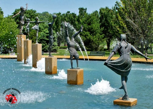 Kansas City's Children's Fountain is located north of the Missouri River