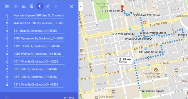 Google Map view of the first half of the walking tour
