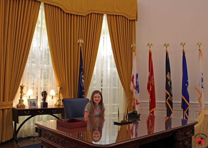 At the Nixon Library and Museum, you can actually enter the replica Oval Office