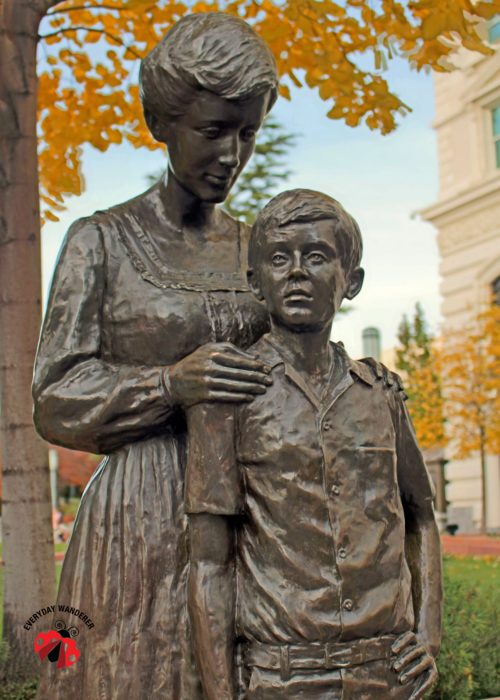 Mother and son statue in Salt Lake City's Temple Square