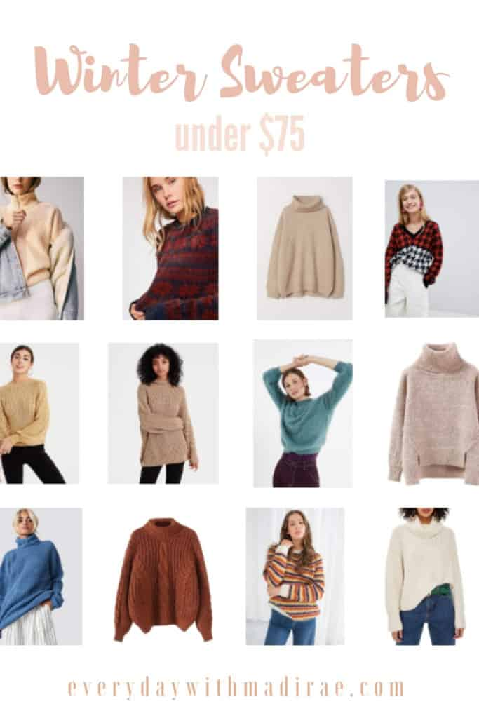 Winter Sweaters Under $75! Sharing ways to dress cozy for the winter while not breaking the bank. Also giving my best tip for creating a cropped sweater!