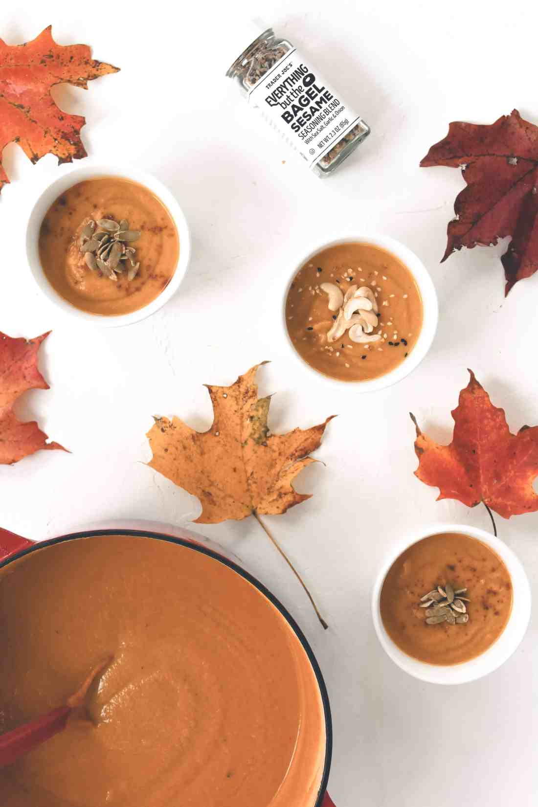 You can enjoy this Butternut & Delicata Squash Soup all fall & winter long! This seasonal soup recipe is gluten free, vegan, full of sweetness, & spice!