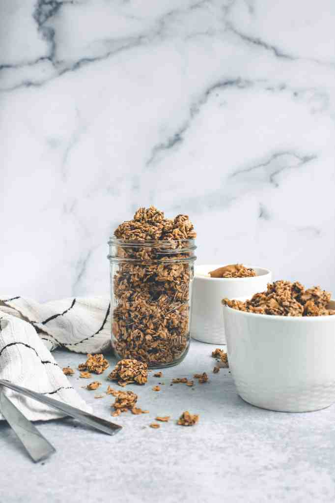 Add this peanut butter granola on top of yogurt, fresh fruit, a smoothie, or enjoy on it's own as a snack! Minimal, clean ingredients, gluten free, & vegan!