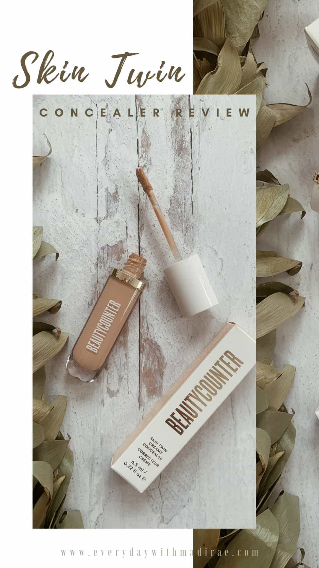 Reviewing Beautycounter's new Skin Twin Creamy Concealer, available in 13 shades, packed with skincare benefits, & clean ingredients!