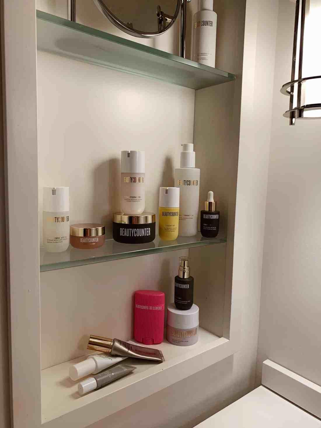 Beautycounter skincare on a shelf