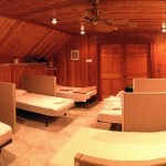 The upstairs dorm area in the main lodge.