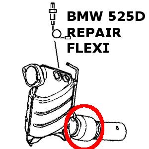 BMW 525D 530D E60, E61 Escape Flexible Reparación Tubo