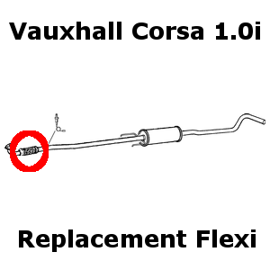 Vauxhall Corsa 1.0i 12v 2000-2006 Replacement Exhaust Flex