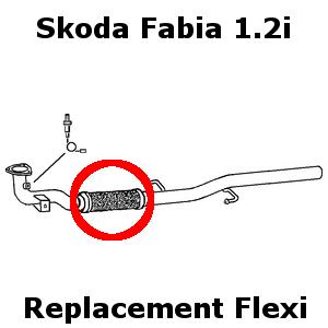 Skoda Fabia 1.2i 2005 Onward Easy Replacement Exhaust Flex