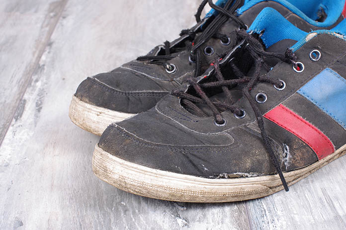 worn sweaty sneakers