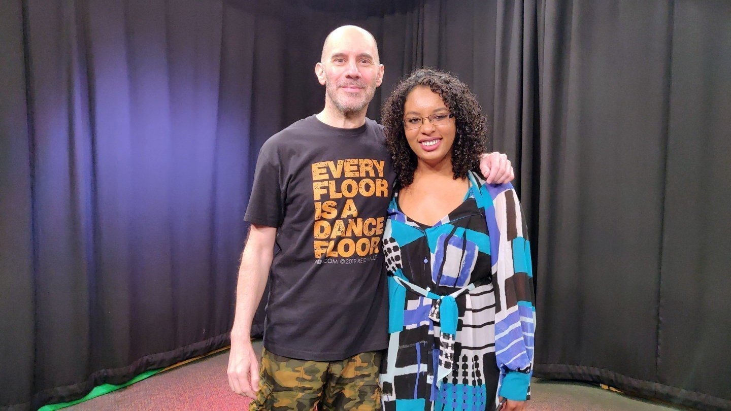 Black Zebra Productions founder, KJ, interviewing Reid Walley for her Dance Artists Documentary at the Access Sacramento studios in Sacramento, CA. May 11, 2019