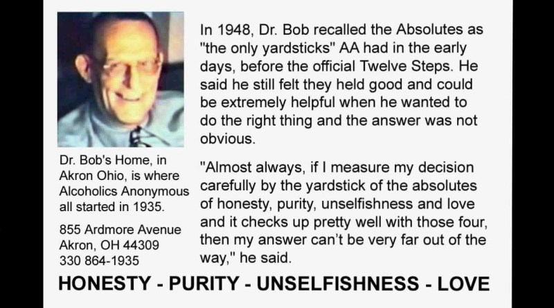 Alcoholics Anonymous co Founder Dr Bob Smith - 4 Absolutes