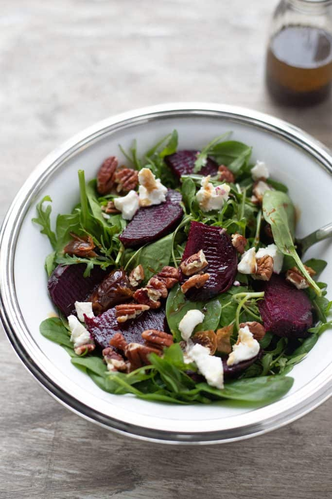 roasted beetroot salad with arugula, feta cheese, toasted pecans with maple balsalmic vinaigrette