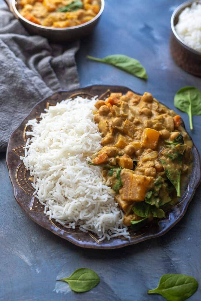 Healthy Sweet Potato and Pumpkin Coconut Curry with Chickpeas
