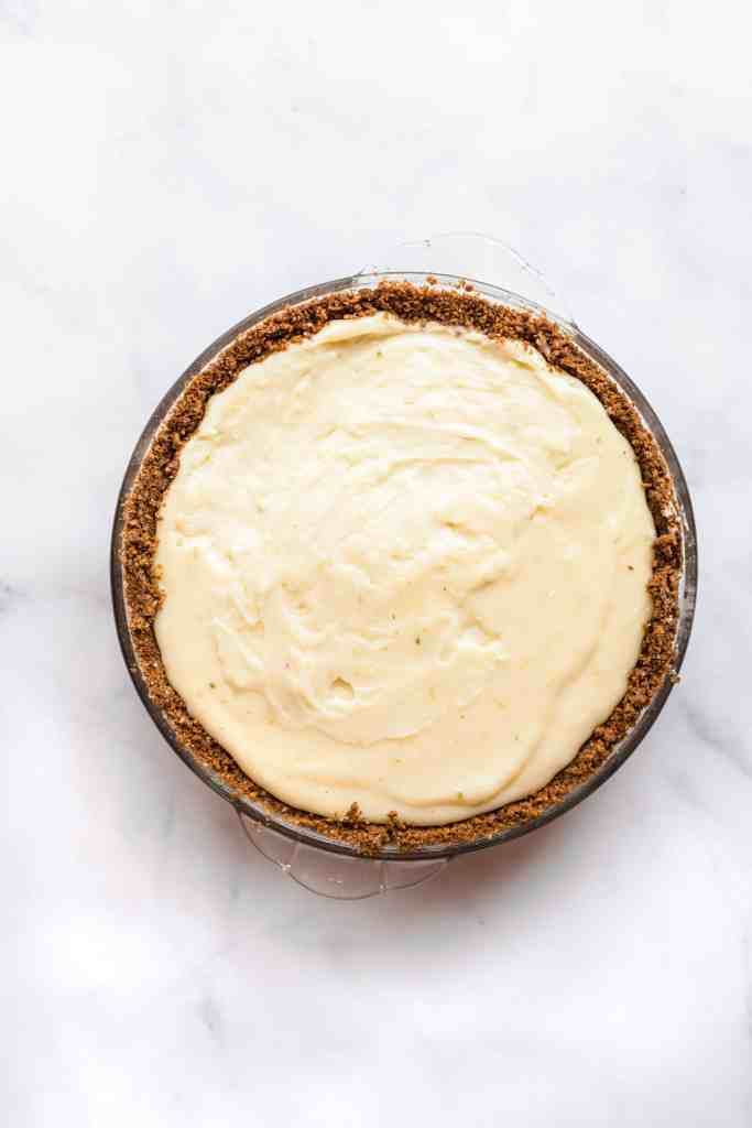 Key lime pie after baking but before adding the whipped cream