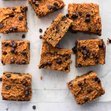 healthy pumpkin bars cut up