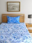 Myntra : Trident Blue & White 120 TC Cotton 1 Single Bedsheet with 1 Pillow Cover at Rs.486