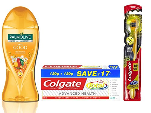 Amazon India : Colgate Palmolive Feel good Essential Oil Bodywash Combo  with Total Advance Health Toothpaste - 240 g and Toothbrush -