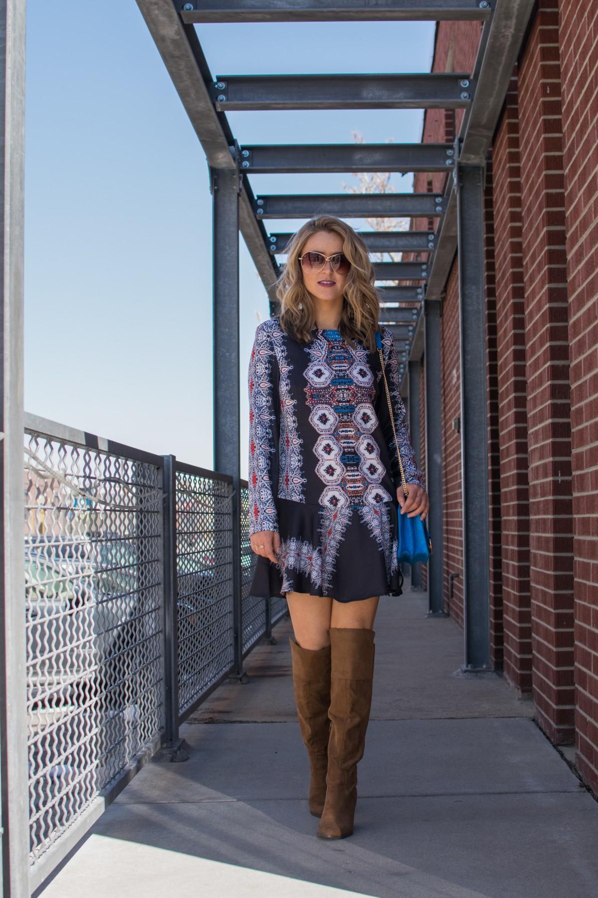 boho print dress and boots