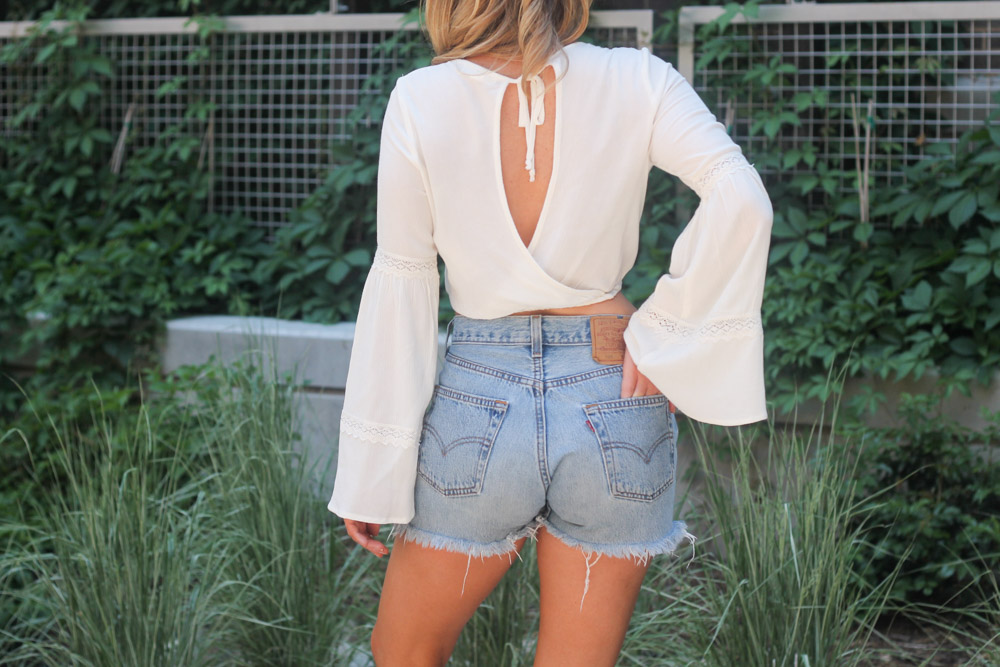 Vintage 501 Levi shorts with boho bell sleeve top
