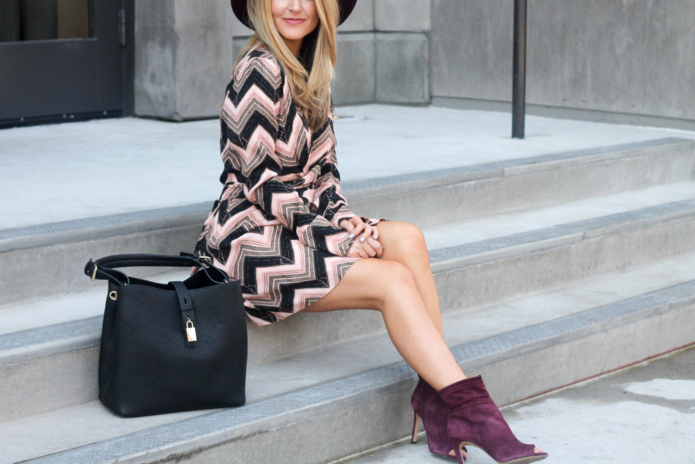 amber from every once in a while wearing free people chevron print shirt dress and vince camuto booties