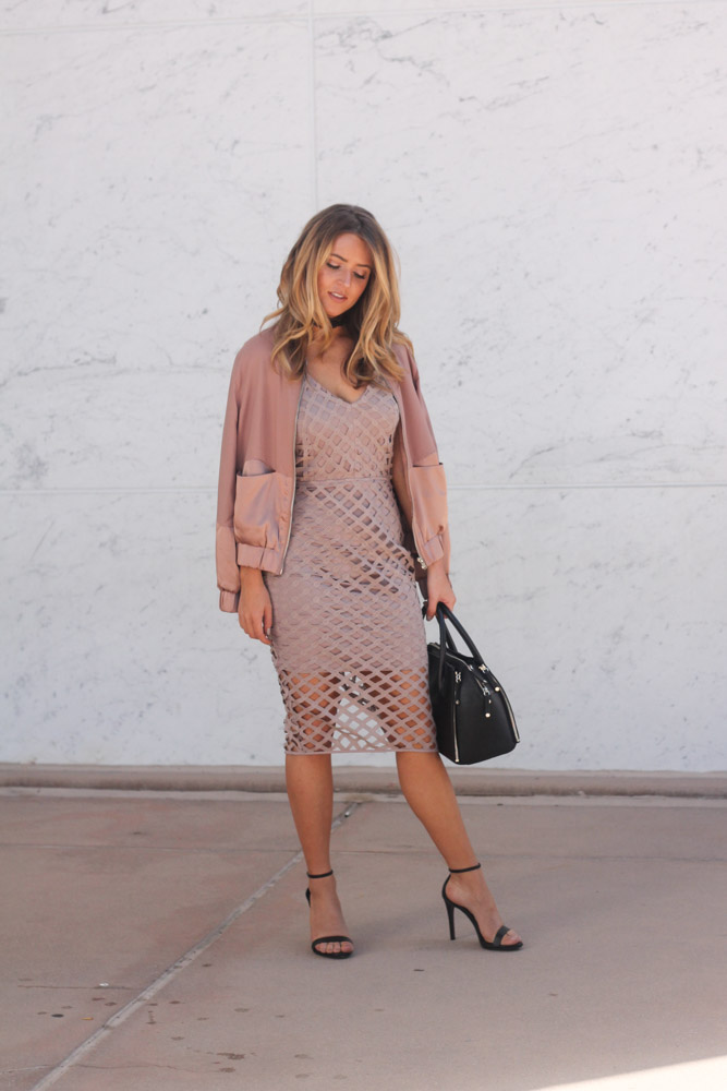 amber from every once in a style wearing Missguided Strappy Lattice Midi Dress Mauve and rose bomber jacket