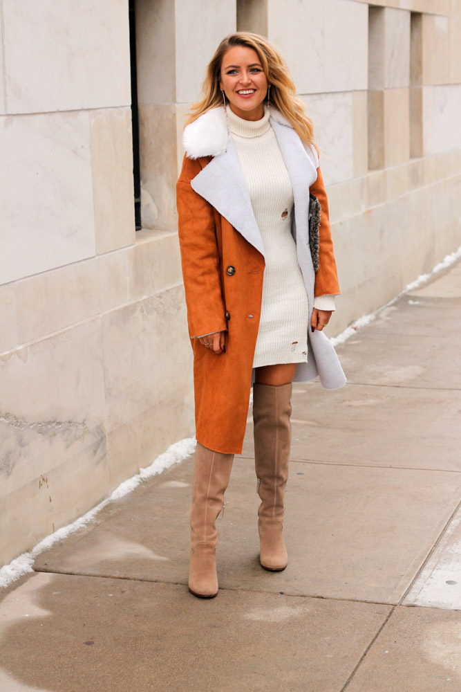 Amber from Every Once in a Style wearing Forever 21 distressed cream sweater dress