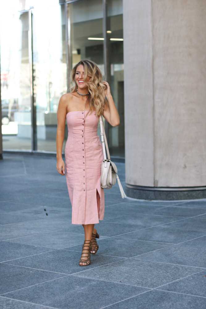 Amber from Every Once in a Style is wearing Cooperative Tiffany Button-Down Strapless Midi Dress