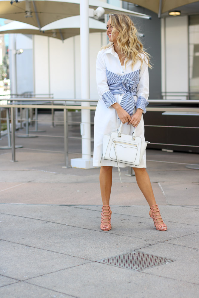 white shirt dress with caged heels